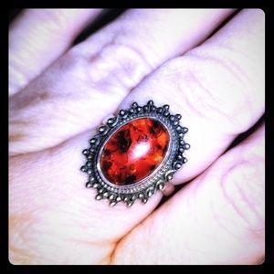 Sterling Silver Amber Sunburst Ring Size 7.5